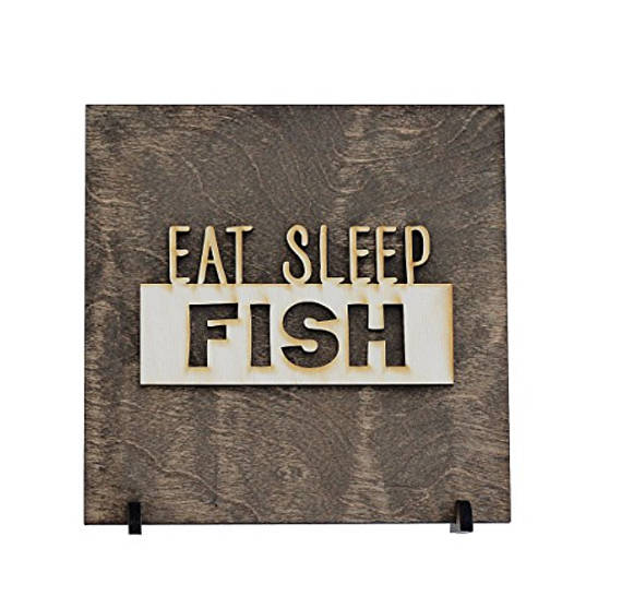 """Eat, Sleep, Fish"" - Fishing Decor - Fishing Sign"