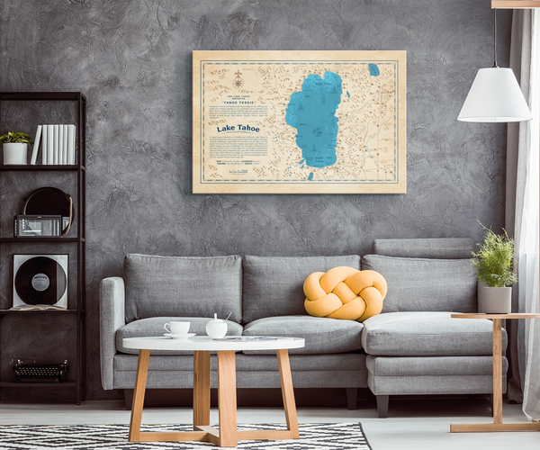Lake Tahoe Historical Canvas Map