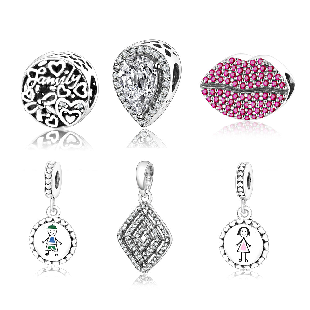 7f8b14205 ... Variety True Authentic Beads/Charms Pink Kiss Clear Crystal Fit  Original Pandora Bracelets 925 Sterling ...