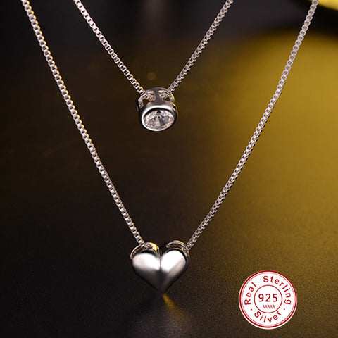 473e84313 Double layer heart CZ Pendant Necklace Top Quality 925 Sterling Silver  Jewelry