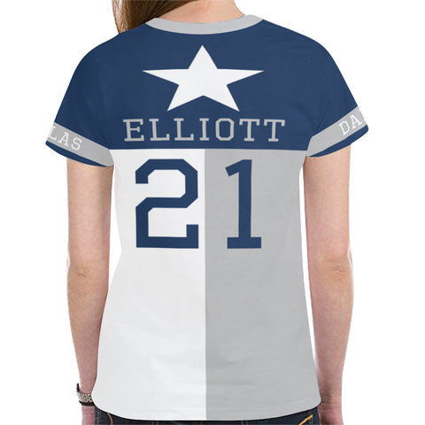 Dallas Football #21 (2016-present) State of Texas Flag Women's Mesh Jersey T-Shirt