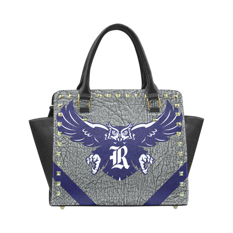 Blue Houston University Logo'd Rivet Shoulder Leather Handbag