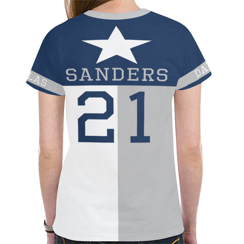 Dallas Football #21 (1995-1999) State of Texas Flag Women's Mesh Jersey T-Shirt