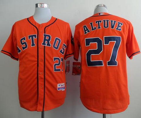 Houston Astros Men's #27 Jose Altuve Orange Cool Base Stitched Baseball Jersey