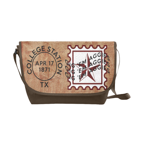 College Station University Postmark Nylon Cross-Body Messenger Bag (black or brown bag)