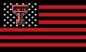 Texas Tech Red Raiders: Red, White, and Black Stars, Stripes, and TTU US Flag; 3'x5'