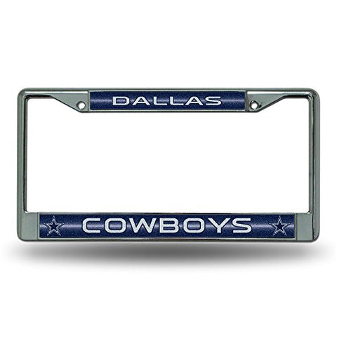 Dallas Cowboys OR Houston Texans Bling Chrome Car License Plate Frame with Glitter Accent