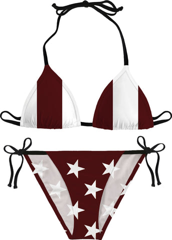 Maroon and White 'Merican Flag Bikini - Handmade & Made on-Demand
