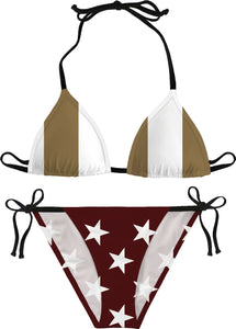 Gold, White, and Maroon 'Merican Flag Bikini
