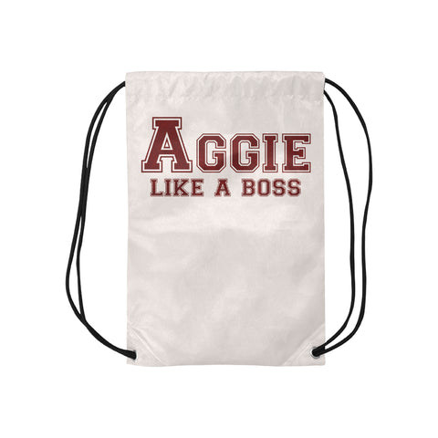 "College Station University ""Like a Boss"" Drawstring Bag - White"
