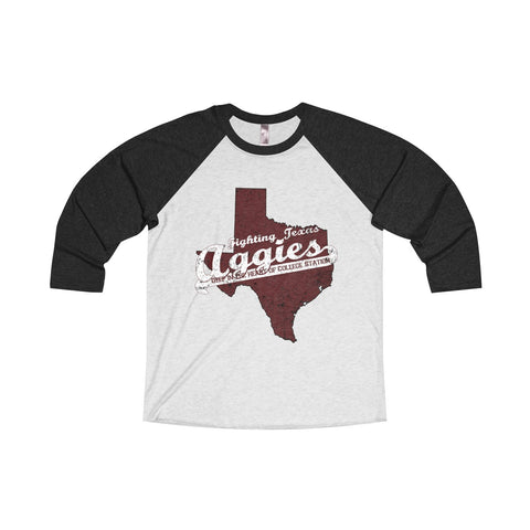 "College Station University ""Deep in the Heart"" Unisex Tri-Blend 3/4 Raglan T-Shirt"