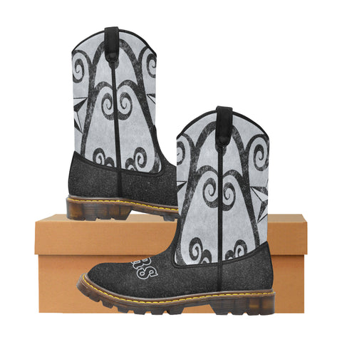 San Antonio Basketball Silver & Black Women's Cowgirl Boots