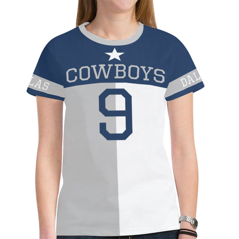 Dallas Football #9 State of Texas Flag Women's Mesh Jersey T-Shirt