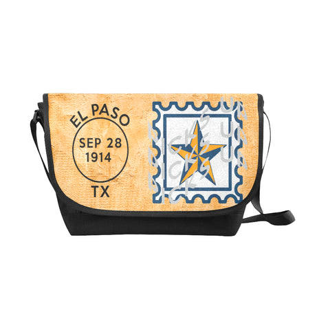 El Paso University Postmark Nylon Cross-Body Messenger Bag (black or brown with blue or orange tint)