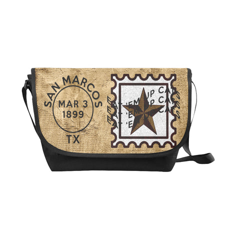 San Marcos University Postmark Nylon Cross-Body Messenger Bag (black or brown, maroon or gold)