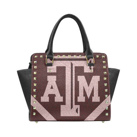 College Station University Logo'd Rivet Shoulder Leather Handbag