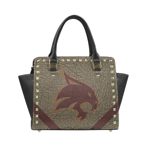 San Marcos University Logo'd Rivet Shoulder Leather Handbag