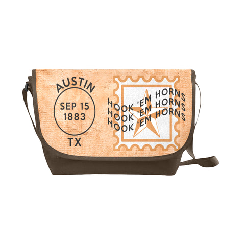 Austin University Postmark Nylon Cross-Body Messenger Bag (black or brown)