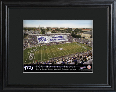 Customizable College Stadium Print with Wood Frame - TCU Horned Frogs