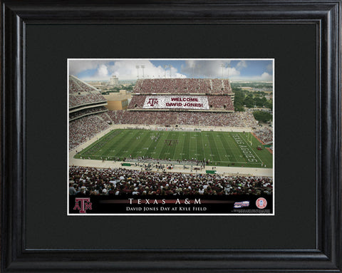 Customizable College Stadium Print with Wood Frame - Texas A&M Aggies