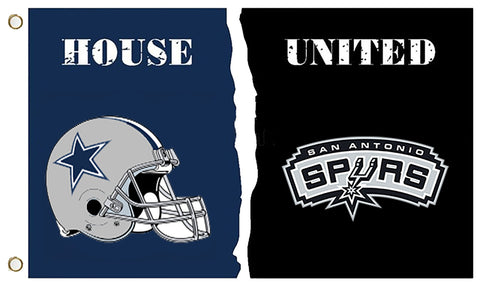 Dallas Cowboys & San Antonio Spurs: 3' x 5' House United Flag
