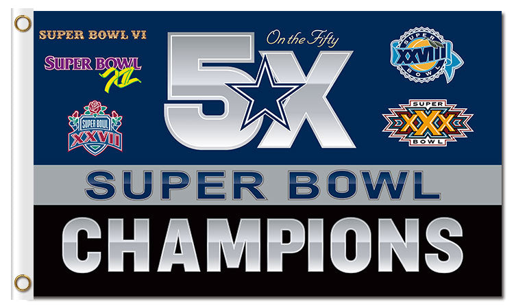 Dallas Cowboys: 5x Super Bowl Champions Banner B; 3'x5'