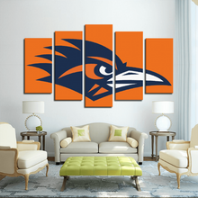 Blue and Orange Bird 5-Panel Canvas Prints Wall Art for Wall Decorations