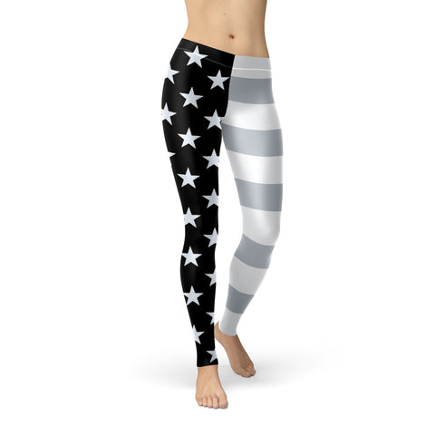 San Antonio Basketball Silver & Black U.S. Flag Regular-Waist Poly/Lycra Leggings