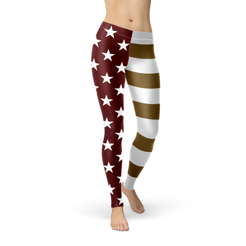San Marcos University U.S. Flag Regular-Waist Poly/Lycra Leggings