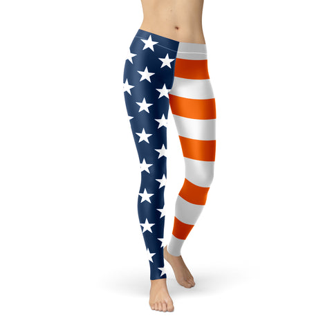 San Antonio University U.S. Flag Regular-Waist Poly/Lycra Leggings