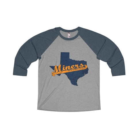 "El Paso University ""Deep in the Heart"" Unisex Tri-Blend 3/4 Raglan T-Shirt"