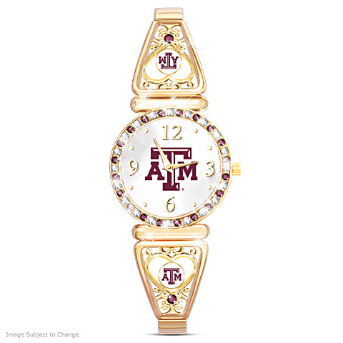 "Texas A&M Aggies ""My Aggie"" Team-Color Crystal Ultimate Fan Women's Watch"