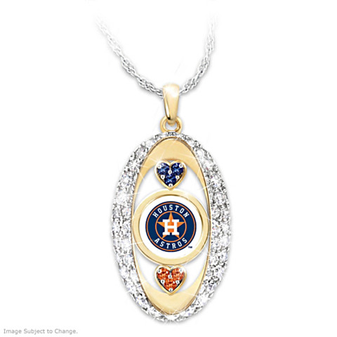 "Houston Astros ""For the Love of the Game"" Crystal Pendant Necklace"