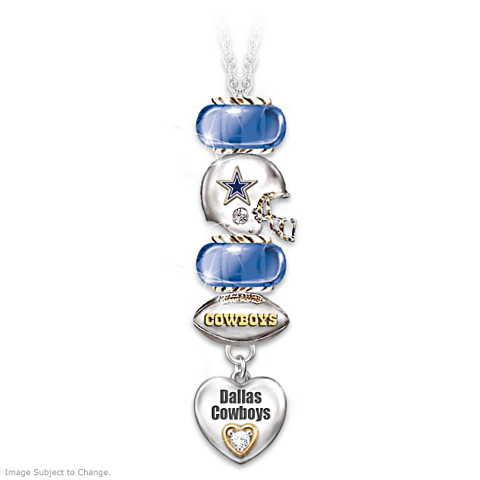 Dallas Cowboys Go Cowboys! #1 Fan Charm Necklace