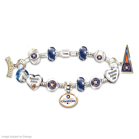 Houston Astros 2017 World Series Champions Charm Bracelet with Swavorski Crystals