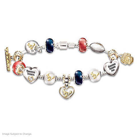 Houston Texans Charm Bracelet With Swarovski Crystals