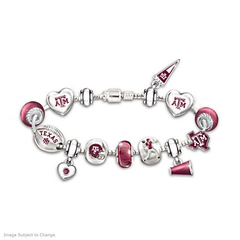 Texas A&M Aggies Charm Bracelet With Swarovski Crystals
