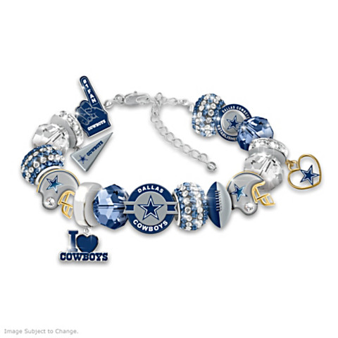 "Dallas Cowboys ""Fashionable Fan"" Beaded Charm Bracelet"