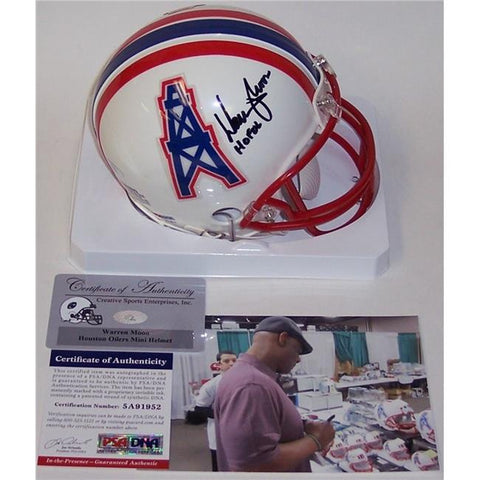 Houston Oilers: Warren Moon Autographed Mini Helmet