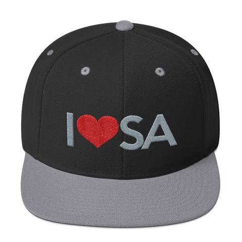 San Antonio Basketball I HEART SA Silver & Black Snapback Hat