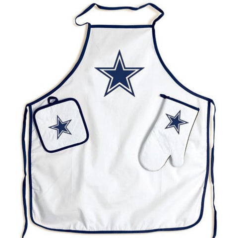 Dallas Cowboys: Men's Grilling and Tailgate Apron Set with Mitt and Glove
