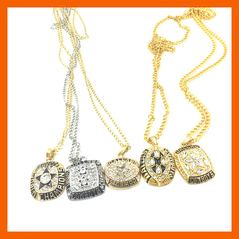 Dallas Cowboys: 5pc set Super Bowl Championship Ring Necklaces