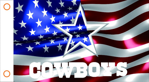 Dallas Cowboys 3' x 5' on the American Flag