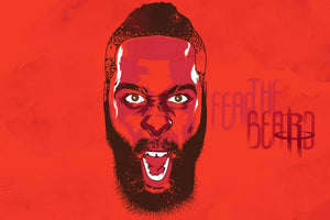 Houston Rockets: James Harden Fear the Beard Wall Art Poster; With or Without Frame