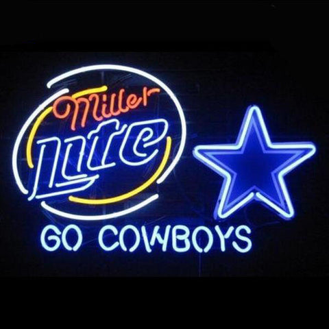 "Dallas Cowboys Miller Light ""Go Cowboys"" Neon/LED-Lighted Pub Sign"