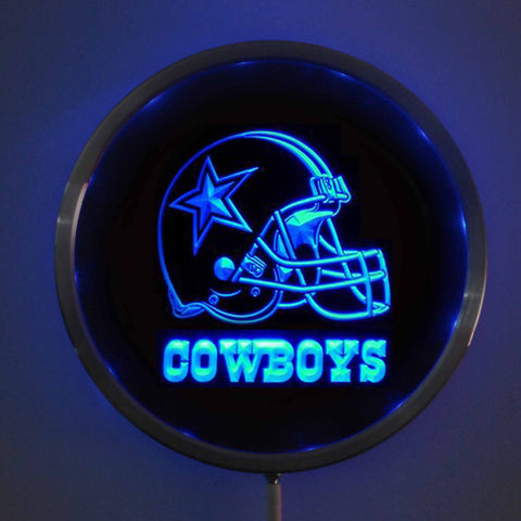 "Dallas Cowboys: Helmet LED Neon 10"" Round Sign - Bar Sign with RGB Multi-Color Remote Wireless Control"