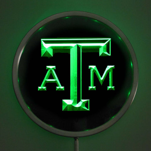 "Texas A&M Aggies 10"" LED Neon Round Bar Sign with RGB Multi-Color Remote Wireless Control Function"