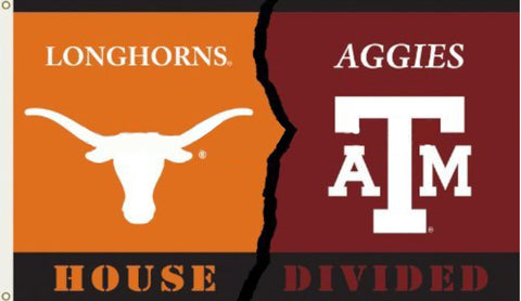 Texas Longorns vs. Texas A&M Aggies 3' x 5' Divided Flag