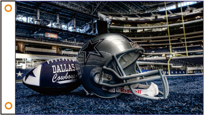 Dallas Cowboys 3' x 5' Helmet and Football on the Field in the End Zone 100% Polyester Flag