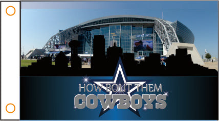 "Dallas Cowboys 3' x 5' ""How 'Bout Them Cowboys"" Over AT&T Stadium 100% Polyester Flag"